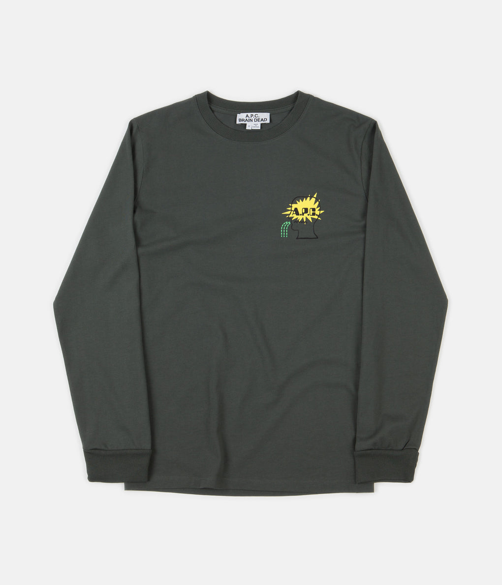 A.P.C. x Brain Dead Molly Long Sleeve T-Shirt - Green / Grey