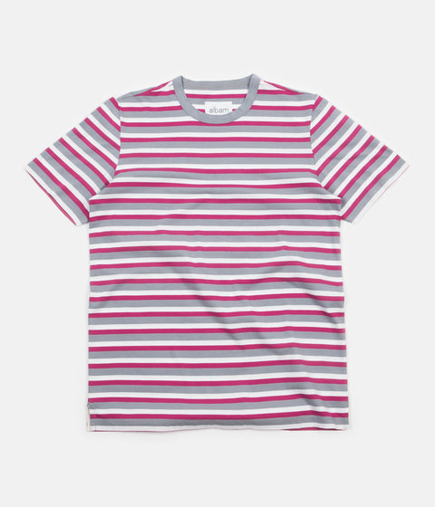Albam Striped T-Shirt - Raspberry / Quarry / White