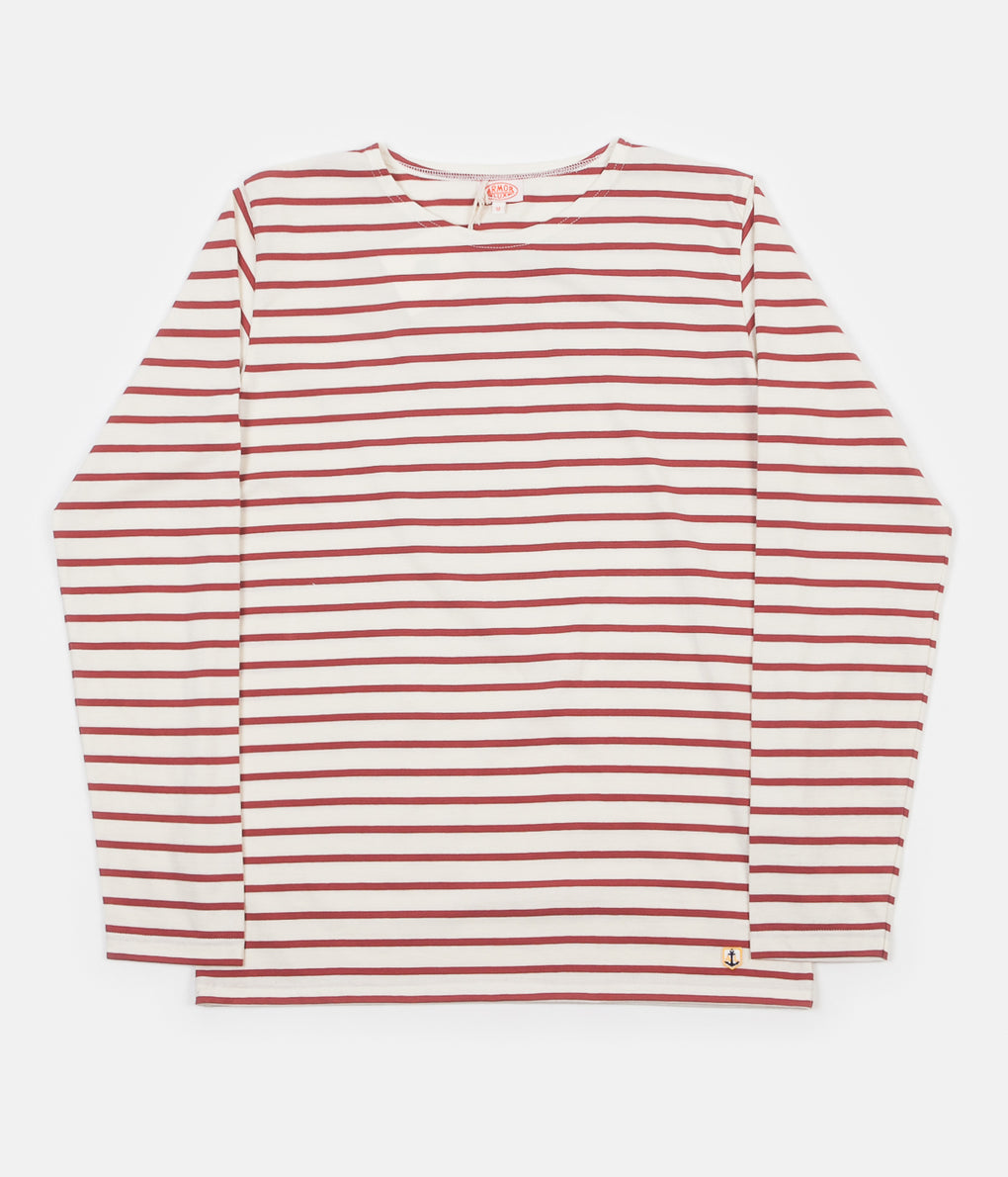 Armor Lux Breton Long Sleeve T-Shirt - Nature / Red Manganese