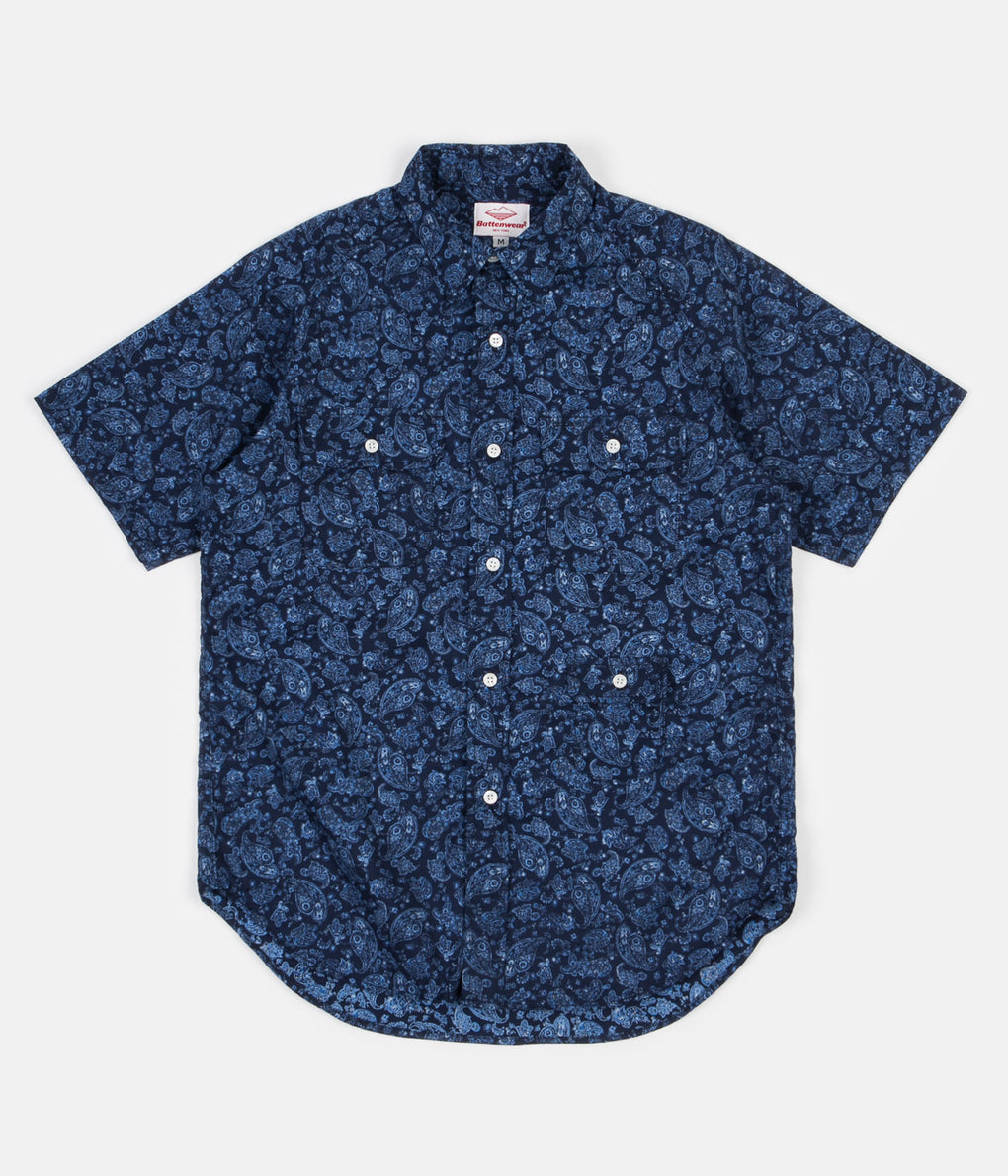 Battenwear Short Sleeve Camp Shirt - Navy Paisley