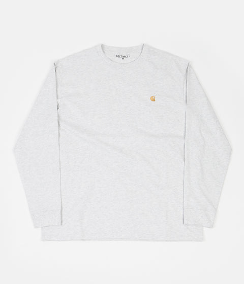 Carhartt Chase Long Sleeve T-Shirt - Ash Heather / Gold
