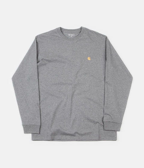 Carhartt Chase Long Sleeve T-Shirt - Grey Heather / Gold