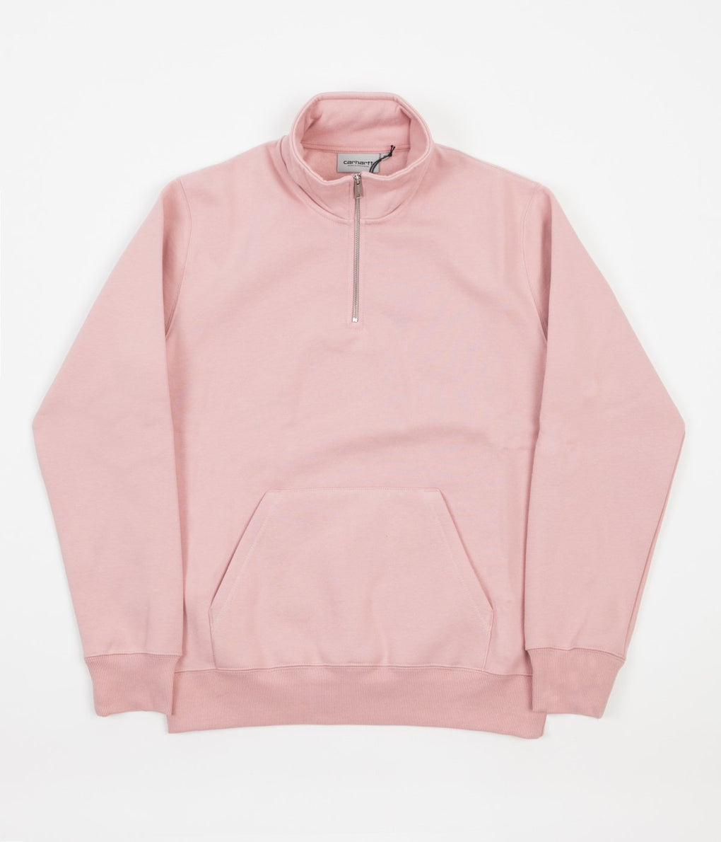 Carhartt Chase Zip Neck Sweatshirt - Soft Rose / Gold