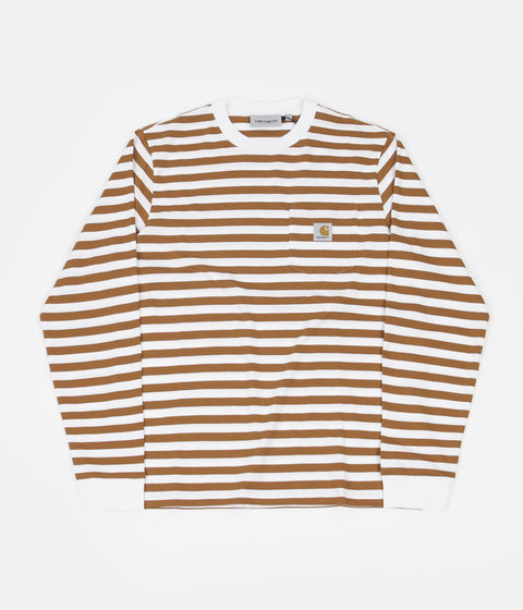 Carhartt Scotty Pocket Long Sleeve T-Shirt - Scotty Stripe / Rum / White
