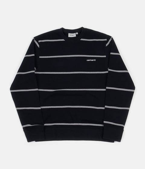Carhartt Spacer Stripe Crewneck Sweatshirt - Dark Navy / White