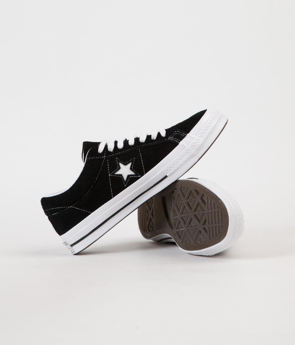Converse One Star Ox Shoes - Black / White / White