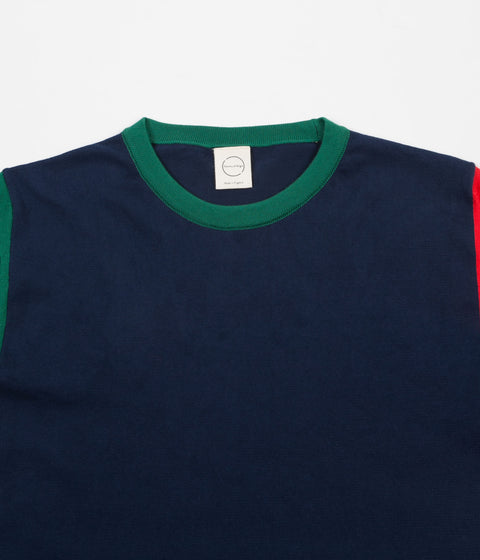 Country Of Origin Balance Repetition Knitted T-Shirt - Navy / Green / Red