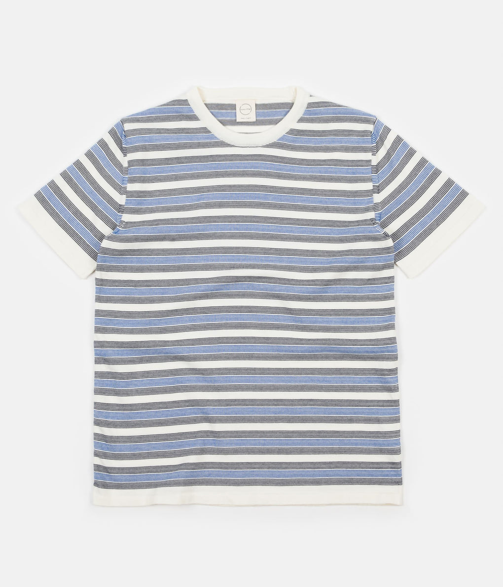 Country Of Origin Deck Chair Knitted T-Shirt - Navy / Blue / Ecru