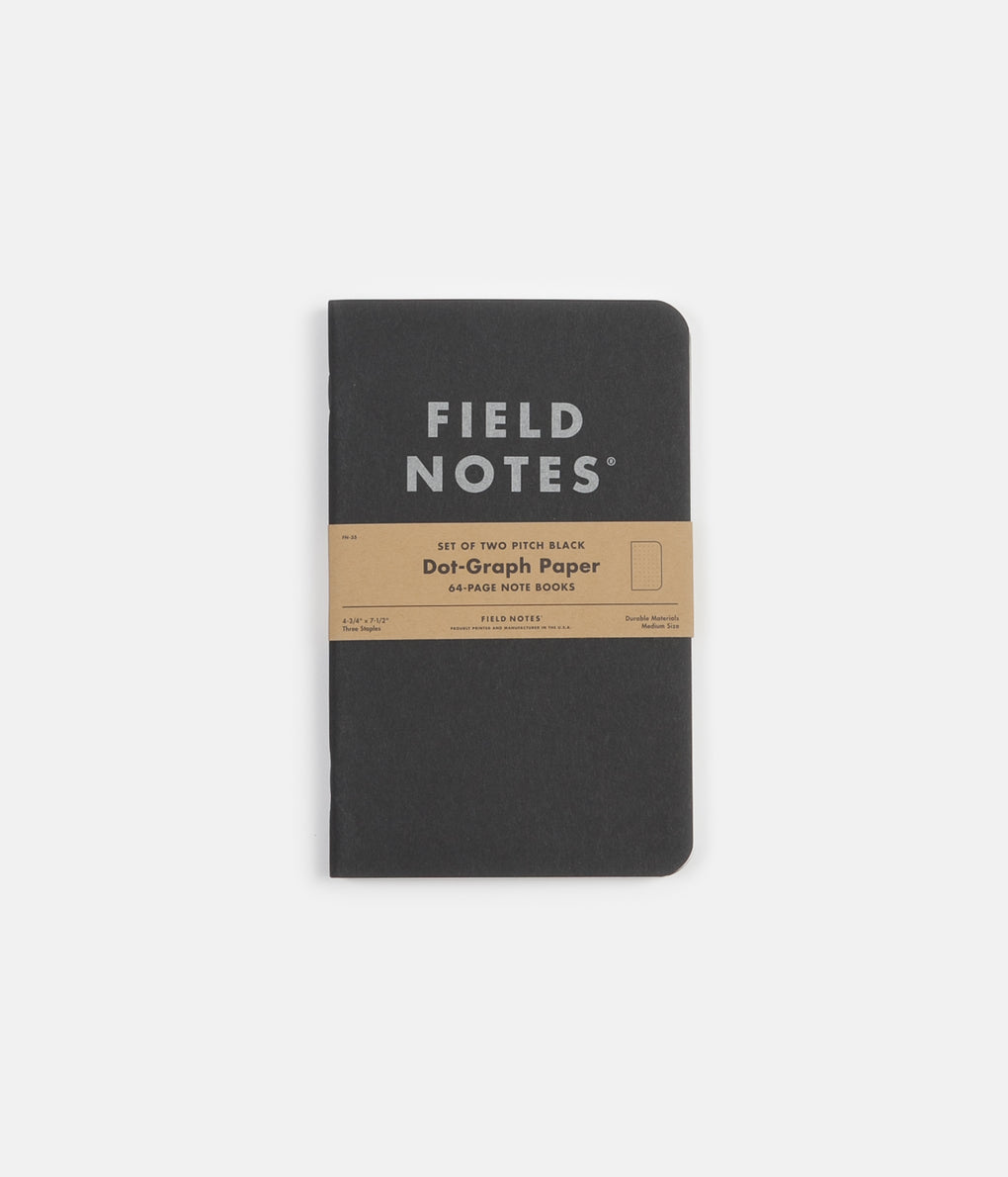 Field Notes Dot Graph Paper Notebooks - Pitch Black - Large