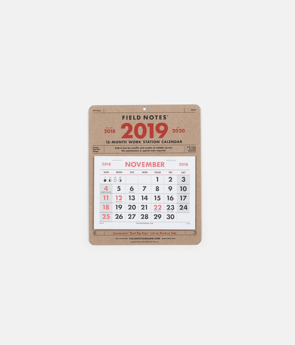 Field Notes Work Station Calendar - 15 Month