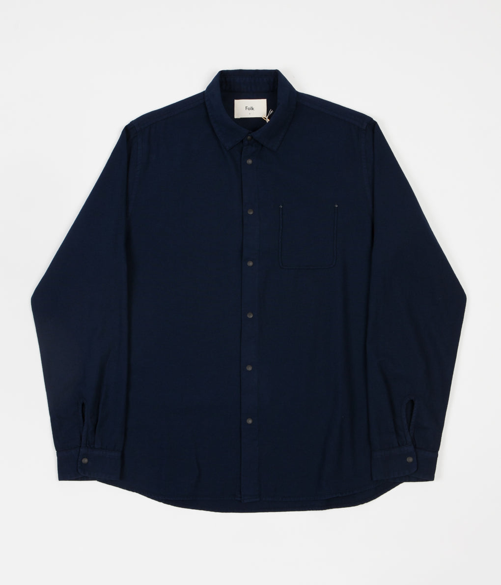 Folk Flannel Pop Stud Shirt - Navy