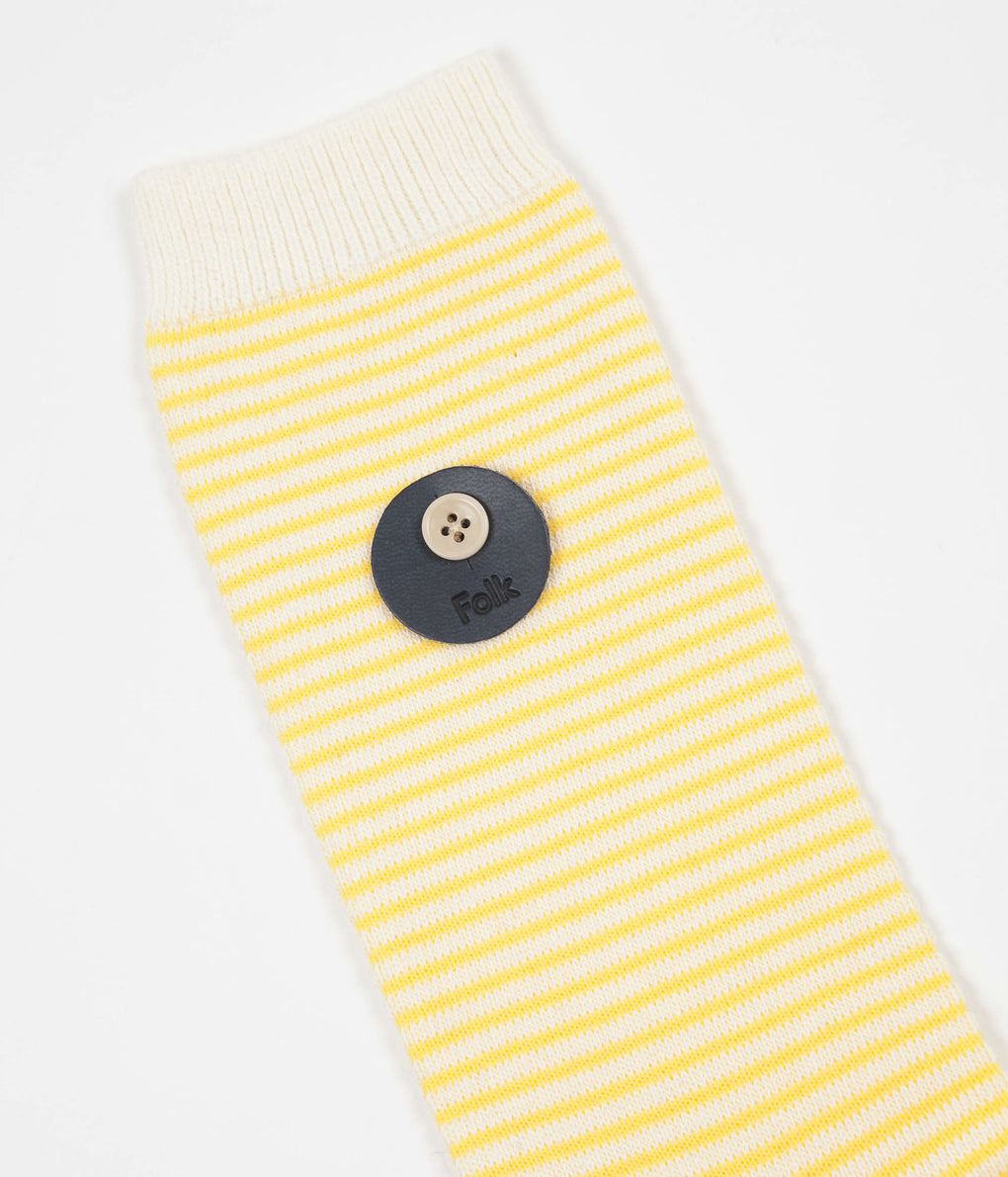 Folk Rib Stripe Socks - Soft Yellow