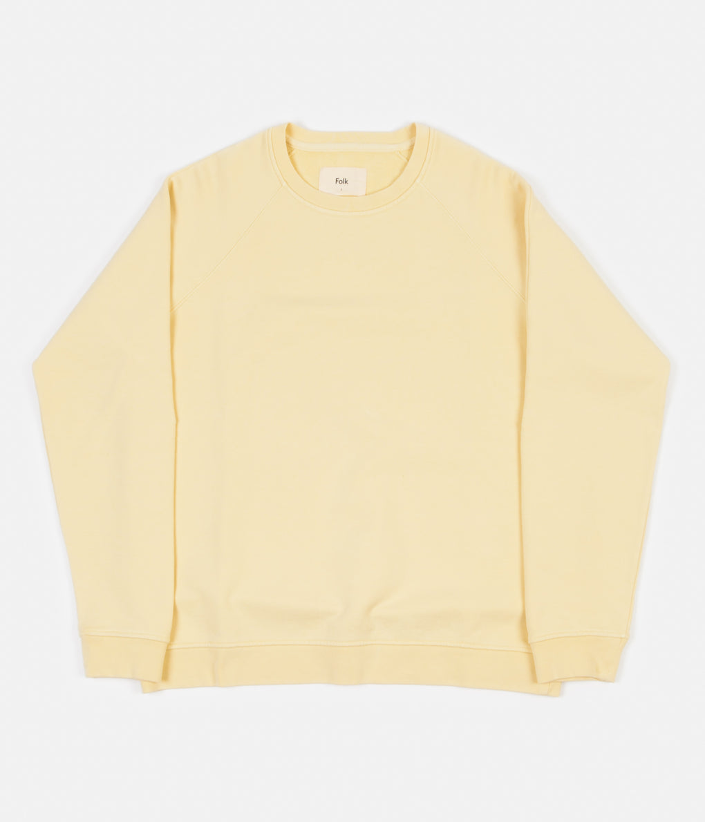 Folk Rivet Jersey Crewneck Sweatshirt - Soft Yellow