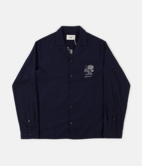 Folk Soft Collar Shirt - Charm Embroidery Navy