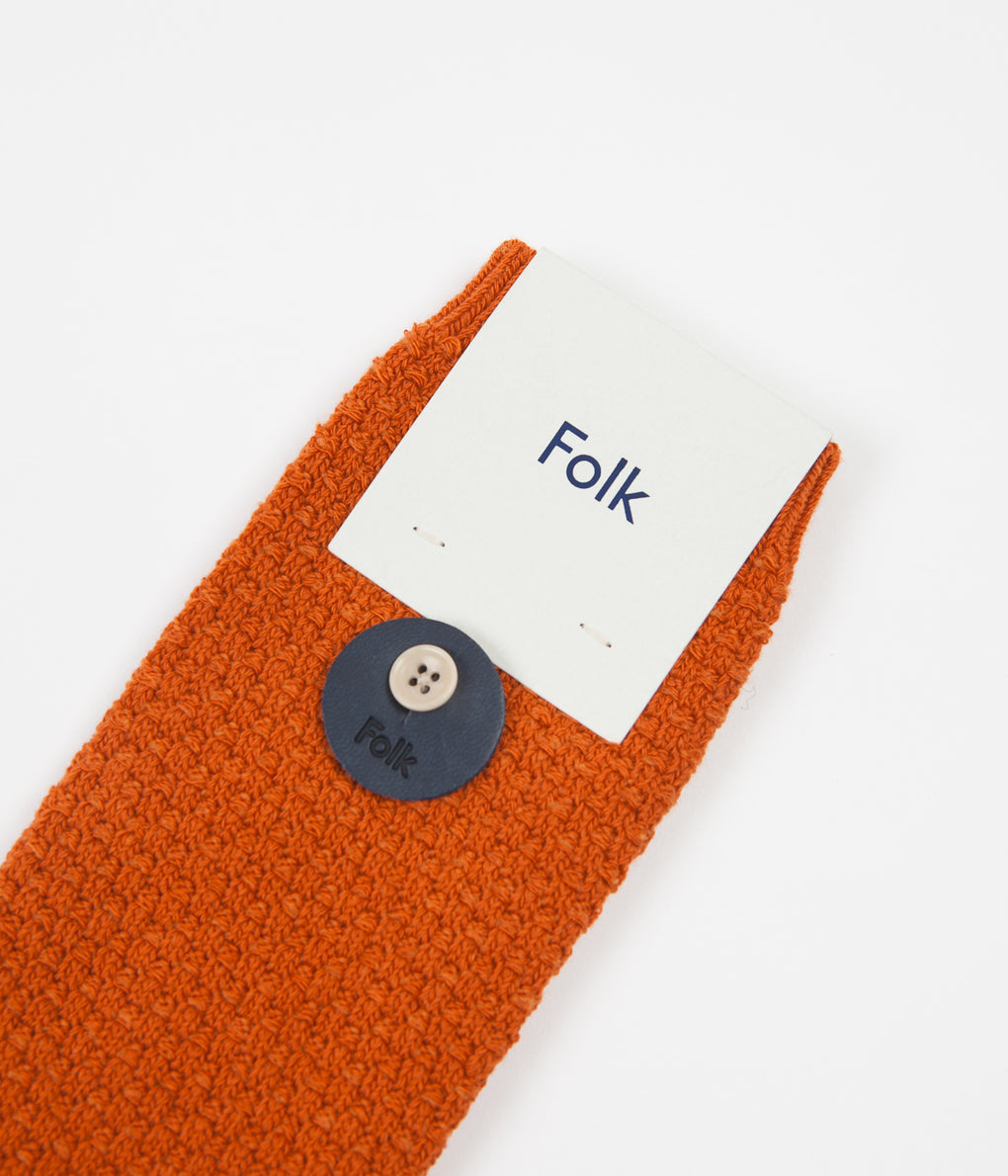 Folk Waffle Socks - Burnt Orange