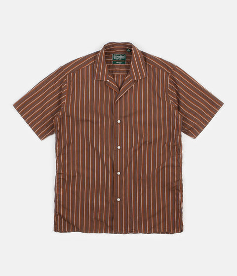 Gitman Vintage Camp Short Sleeve Shirt - Brown Stripe