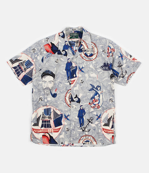 Gitman Vintage Camp Short Sleeve Shirt - Lost At Sea