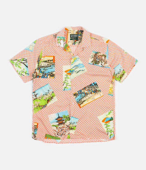 Gitman Vintage Camp Short Sleeve Shirt - Orange Hokusai