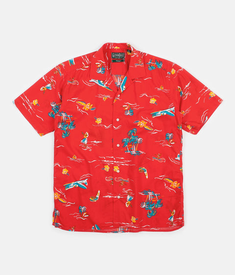 Gitman Vintage Camp Short Sleeve Shirt - Red Surf & Turf