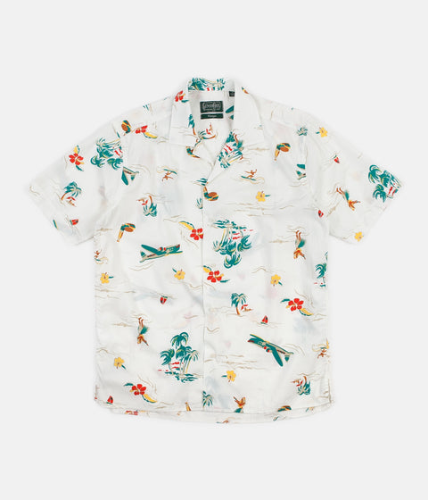 Gitman Vintage Camp Short Sleeve Shirt - White Surf & Turf