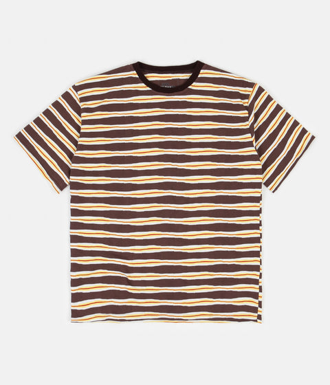 Good Measure M-4 Surf Stripe T-Shirt - Brown / Yellow