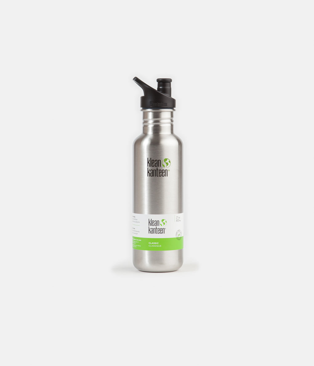 Klean Kanteen Classic 800ml Sports Cap Flask - Brushed Stainless