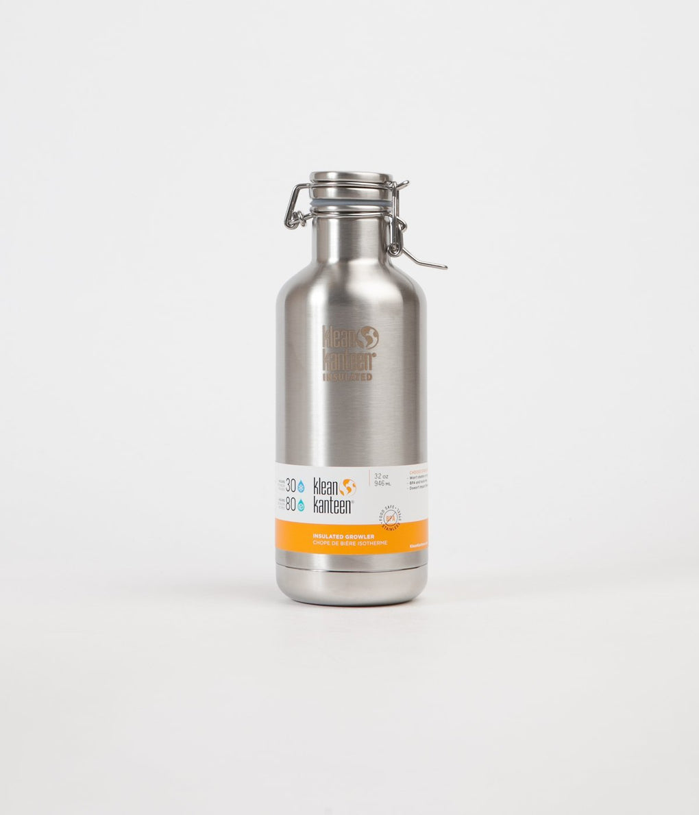 Klean Kanteen Growler 946ml Insulated Flask - Brushed Stainless