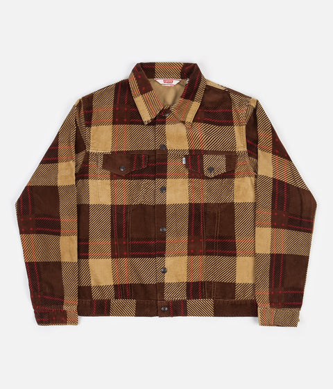 Levi's® Vintage Clothing Plaid Cord Trucker Jacket - Oxblood