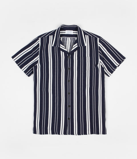 Libertine-Libertine Cave Short Sleeve Shirt - Off White / Evening Blue