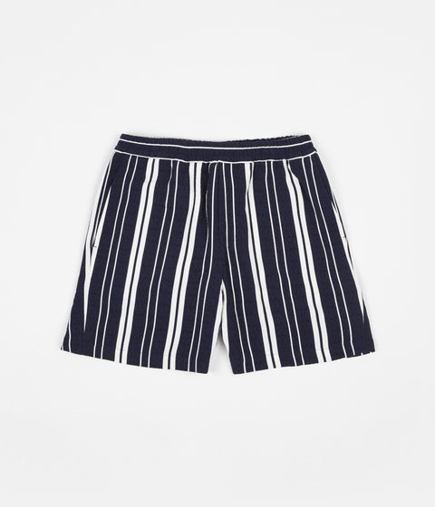 Libertine-Libertine Front Shorts - Off White / Navy Stripe