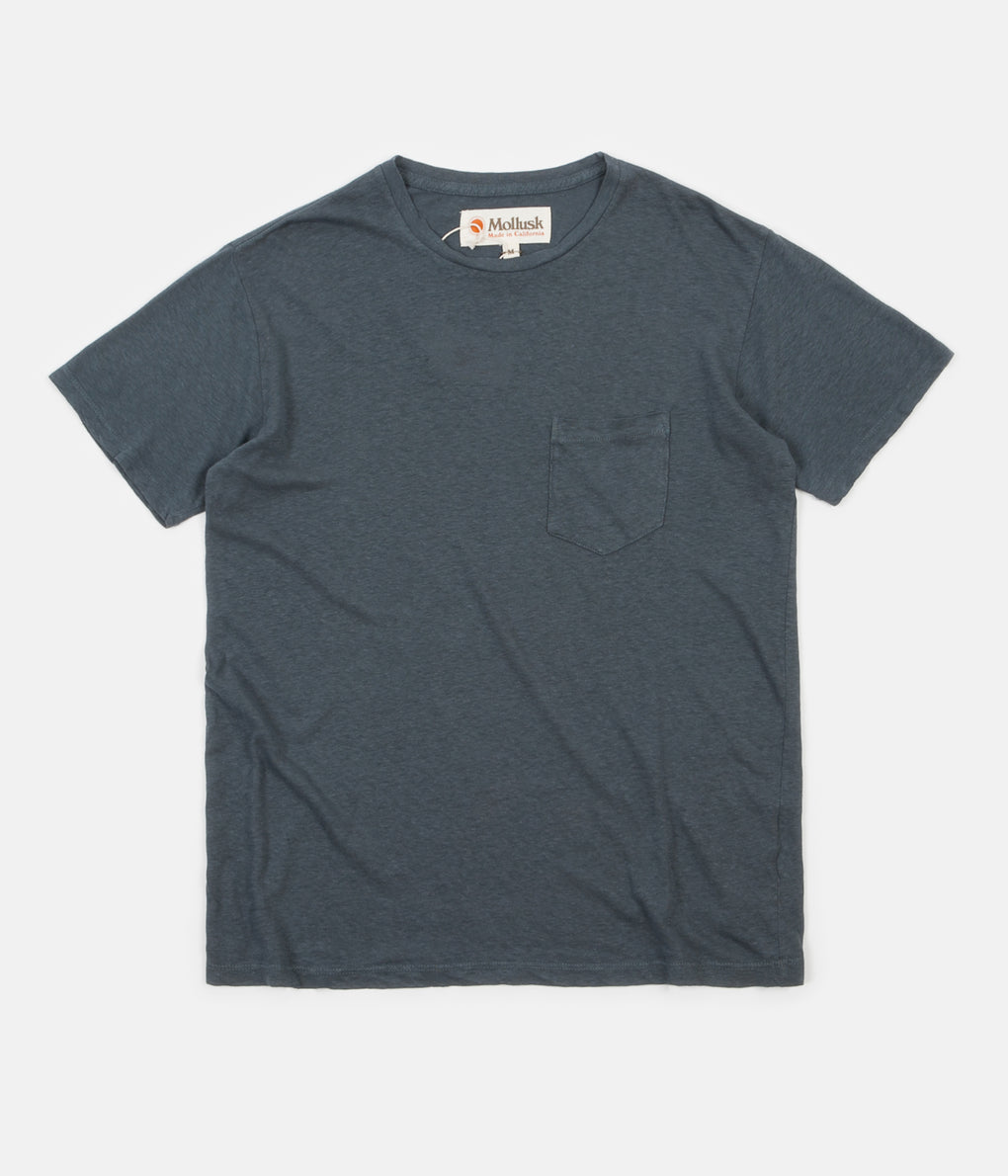 Mollusk Hemp Pocket T-Shirt - Dull Indigo