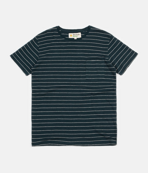 Mollusk Hemp Stripe T-Shirt - Indigo / Natural Stripe