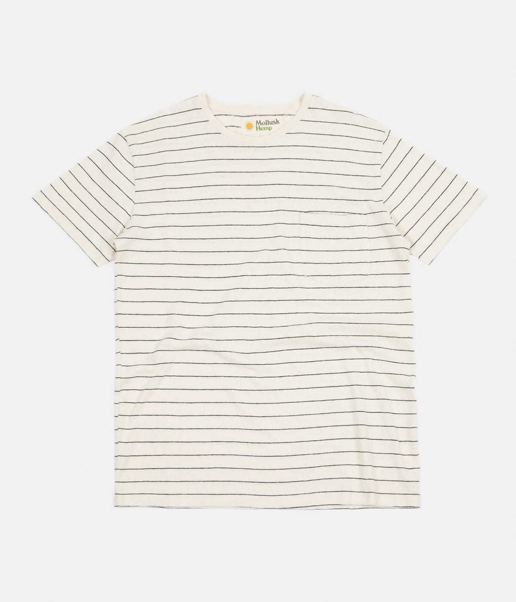 Mollusk Hemp Stripe T-Shirt - Natural / Indigo Stripe