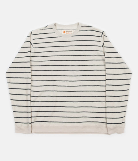 Mollusk Stripe Hemp Crewneck Sweatshirt - Fog / Navy Stripe