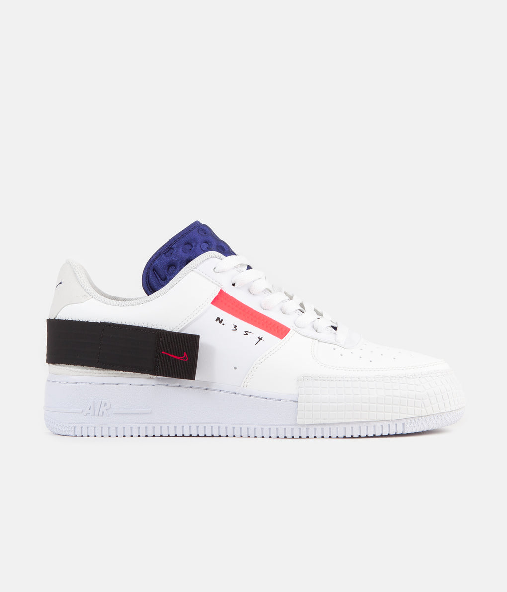 Nike Air Force 1 Type Shoes - Summit White / Red Orbit - White - Black