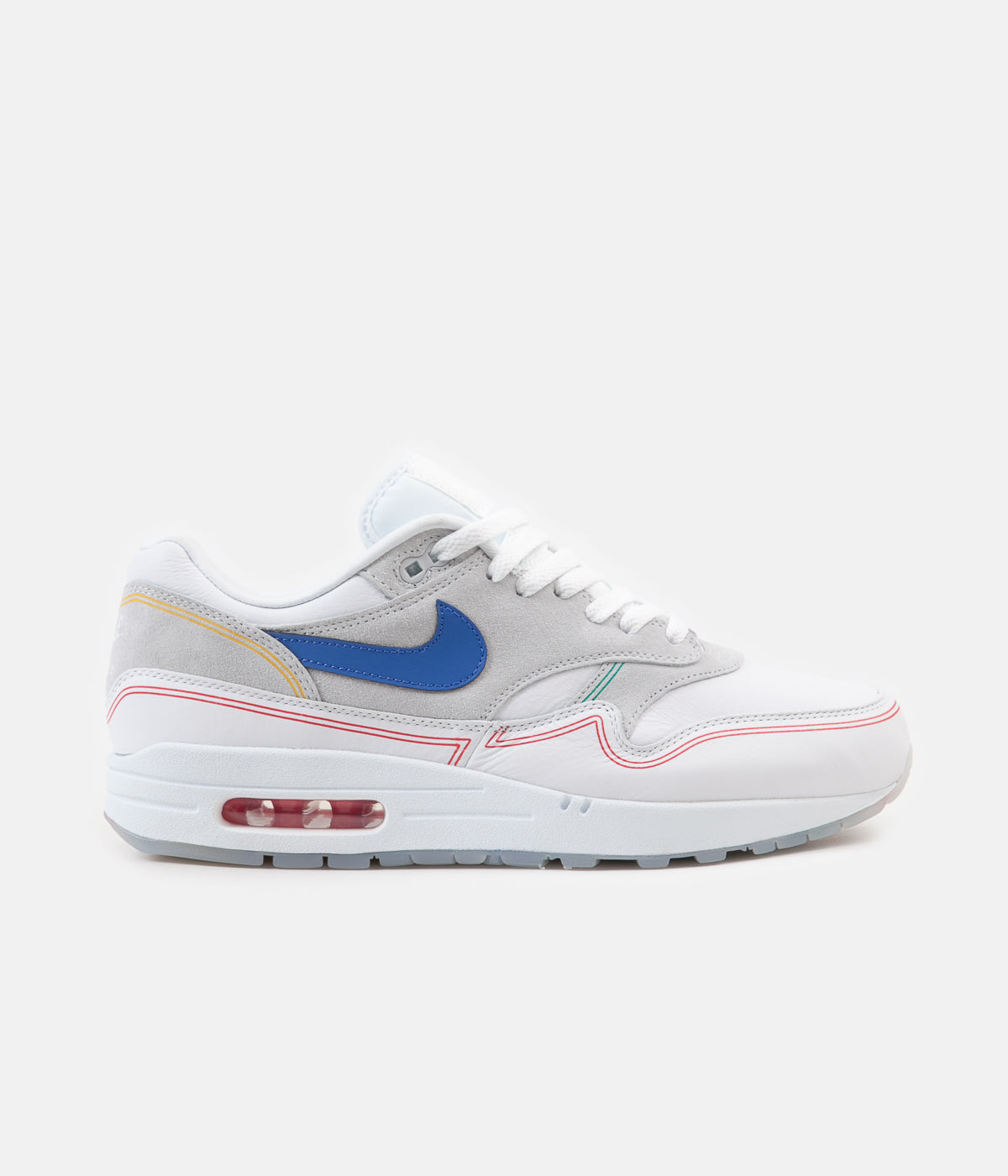best loved ffba5 ce48a ... Nike Air Max 1 Centre Pompidou Shoes - Pure Platinum   Royal Blue -  White ...