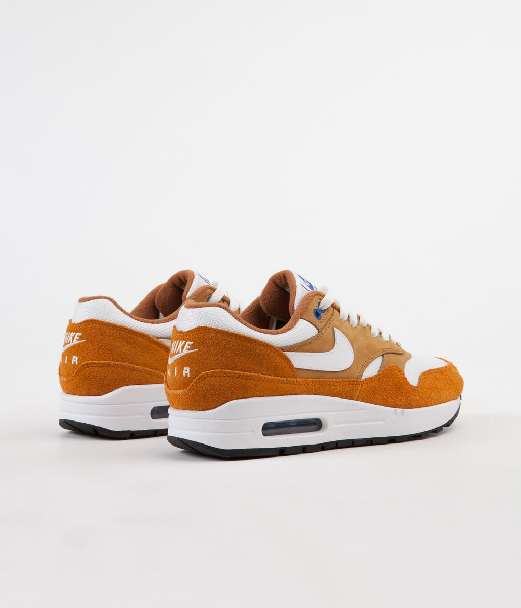 Nike Air Max 1 Premium Retro Shoes - Dark Curry / True White - Sport Blue - Black