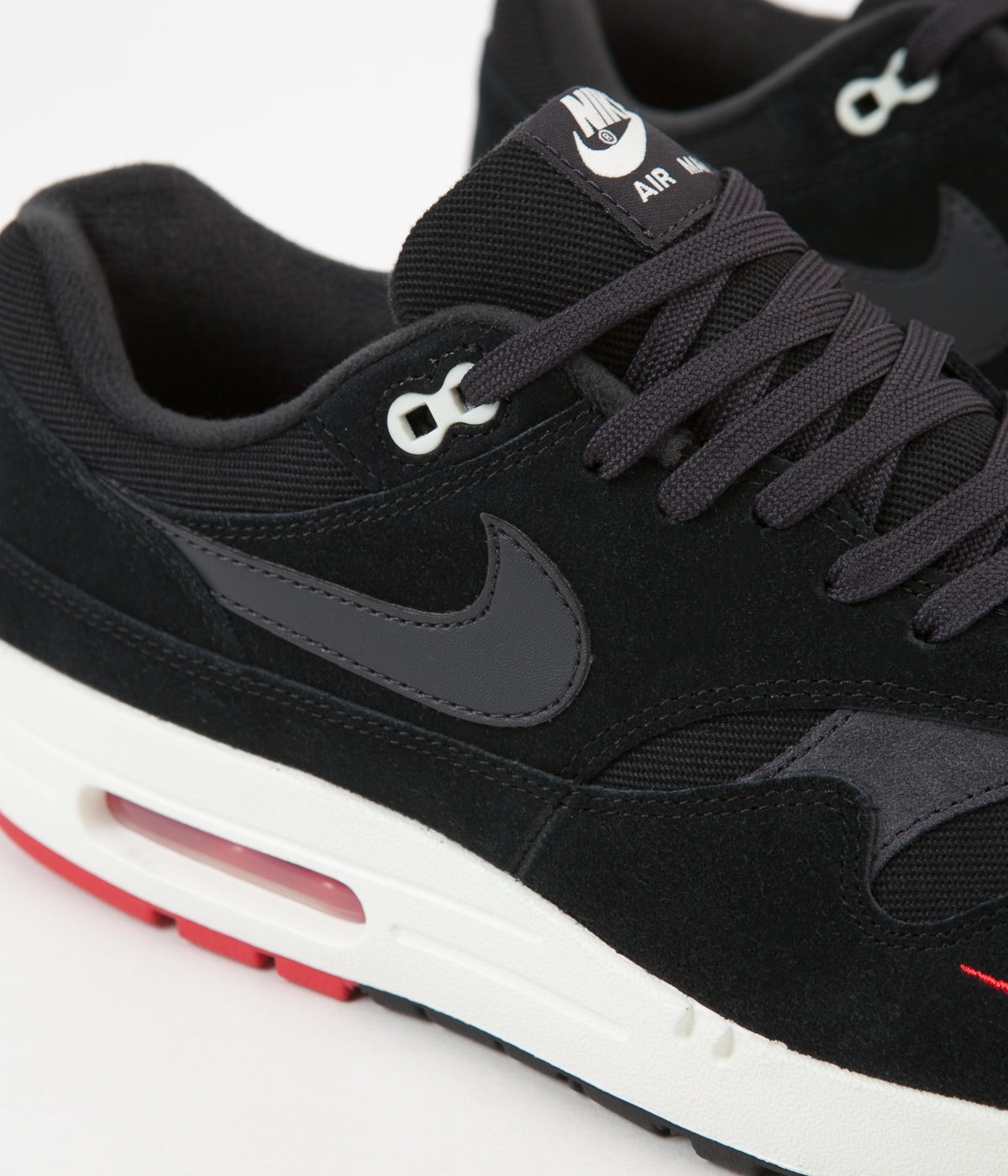 NIKE AIR MAX 1 PREMIUM BLACKOIL GREY UNIVERSITY RED SIZE