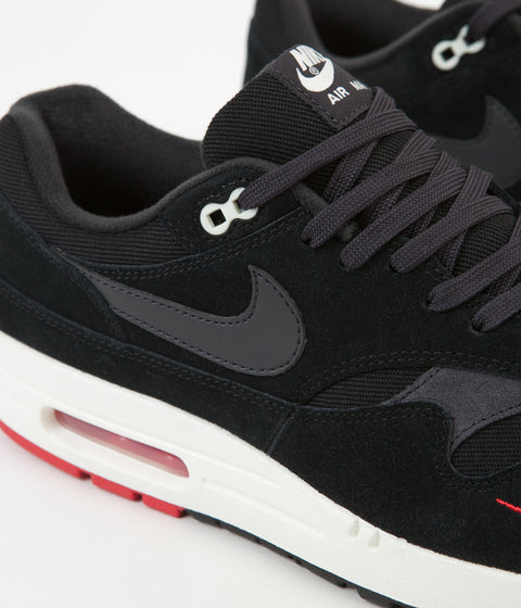 Nike Air Max 1 Premium Shoes - Black / Oil Grey - University Red - Sail