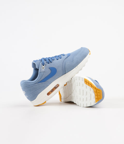 Nike Air Max 1 Premium Shoes - Work Blue / Mountain Blue - Yellow Ochre