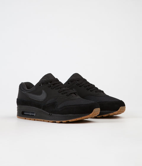 Nike Air Max 1 Shoes - Black / Black - Black - Gum Med Brown