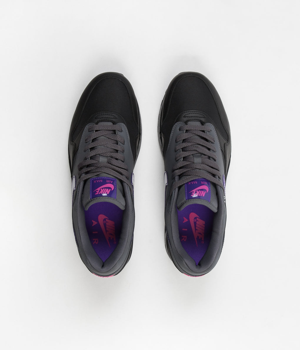 Nike Air Max 1 Shoes - Dark Grey / Fierce Purple - Black - Pink Blast