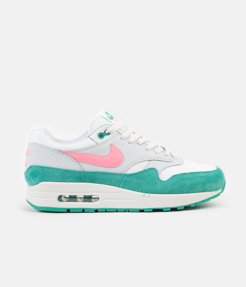 Nike Air Max 1 Shoes - Summit White / Sunset Pulse - Kinetic Green