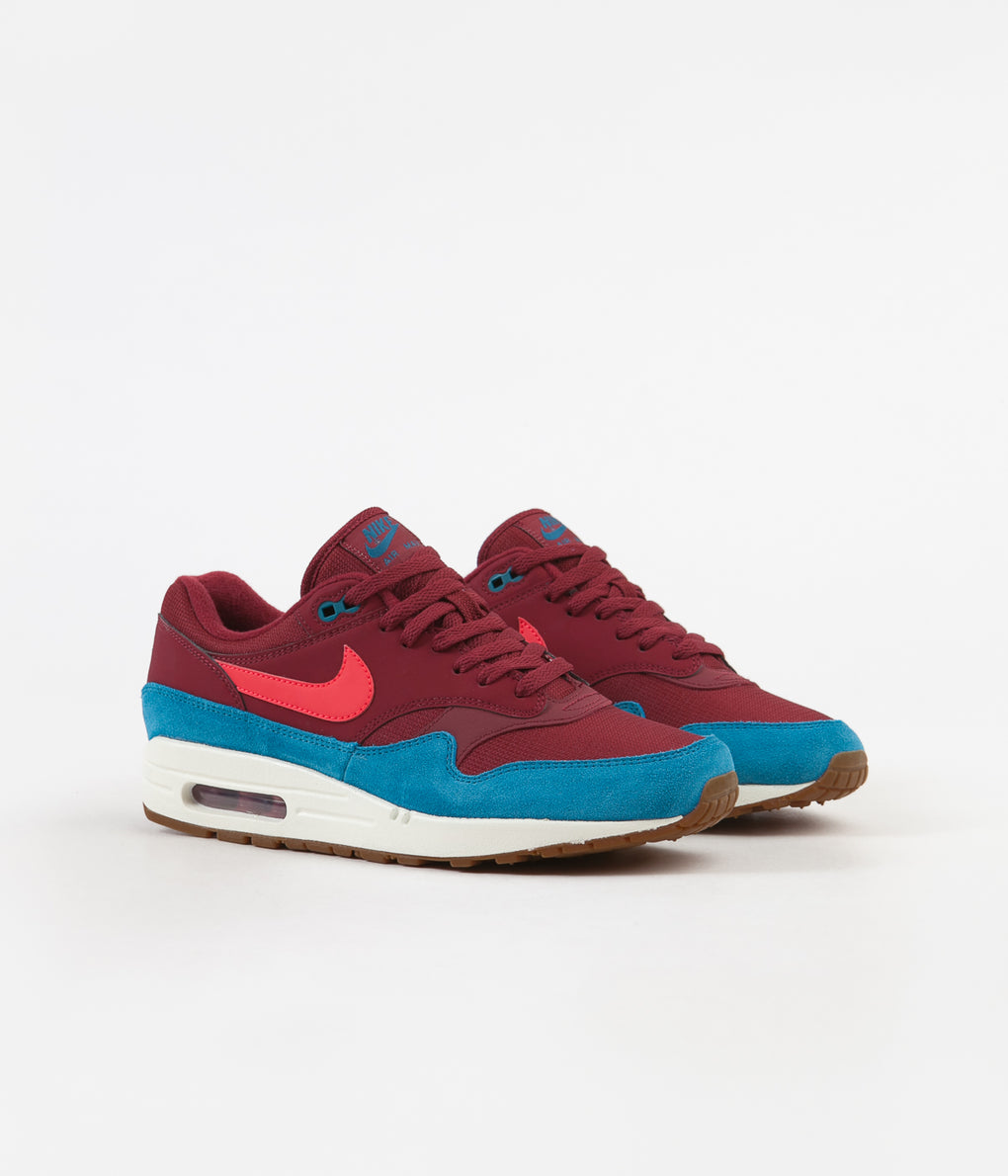 Nike Air Max 1 Shoes - Team Red / Red Orbit - Green Abyss - White