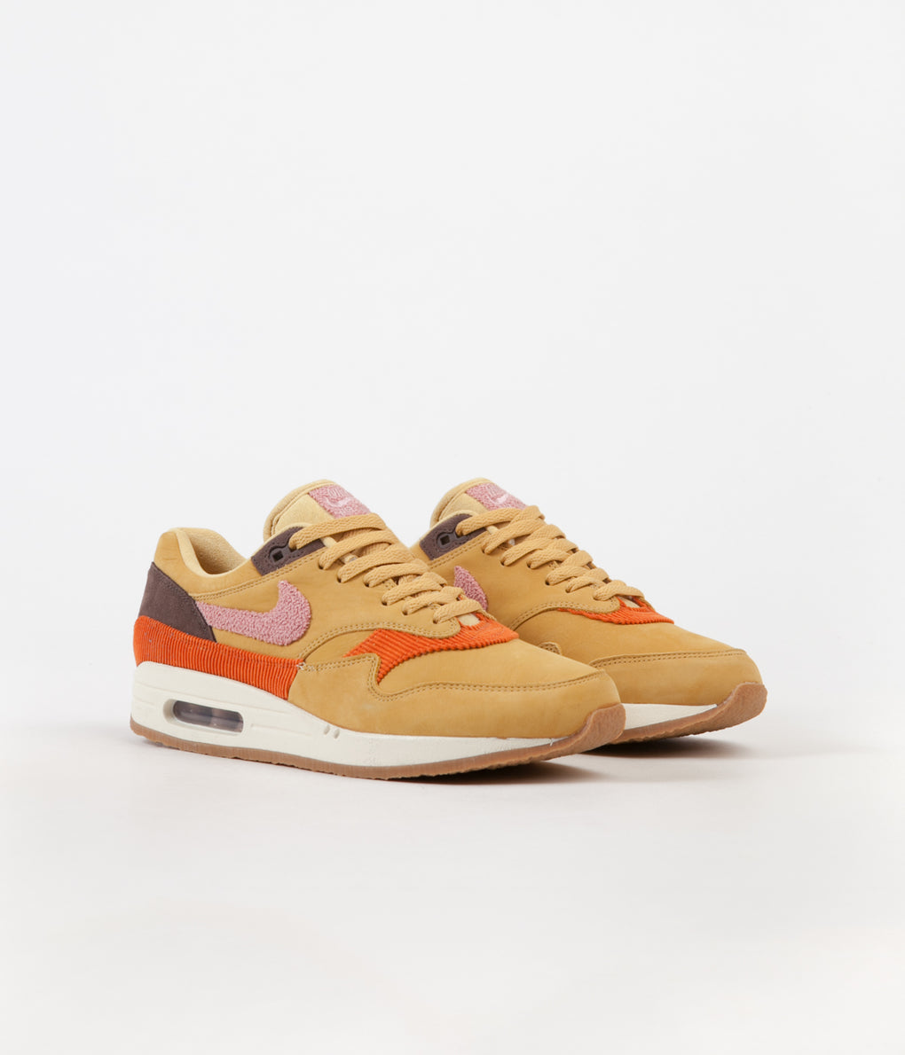 Nike Air Max 1 Shoes - Wheat Gold / Rust Pink - Baroque Brown