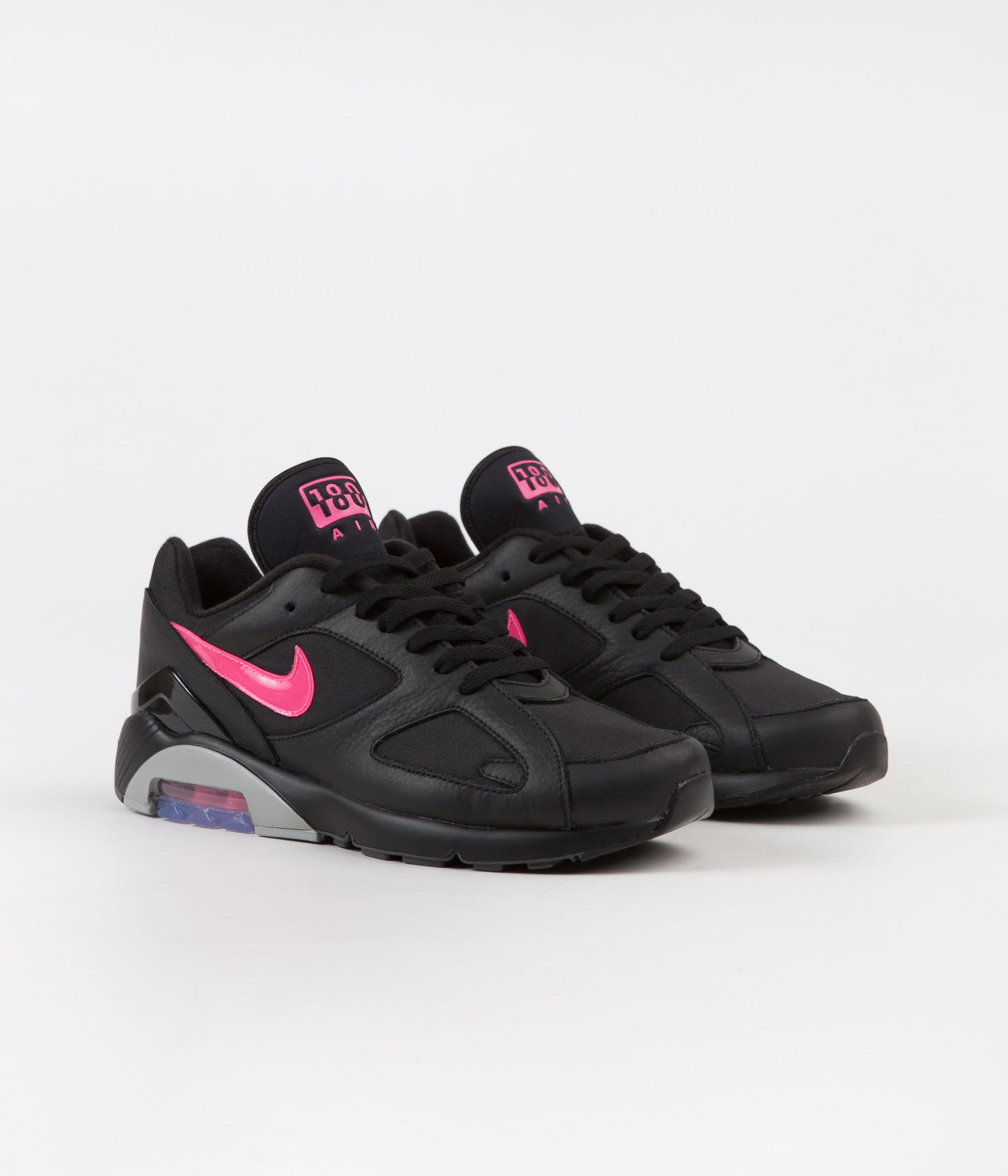 new concept e2c45 db7e1 ... Nike Air Max 180 Shoes - Black  Pink Blast - Wolf Grey ...