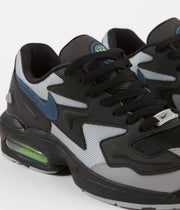 Nike Air Max 2 Light Shoes - Black / Thunderstorm - Wolf Grey - Volt