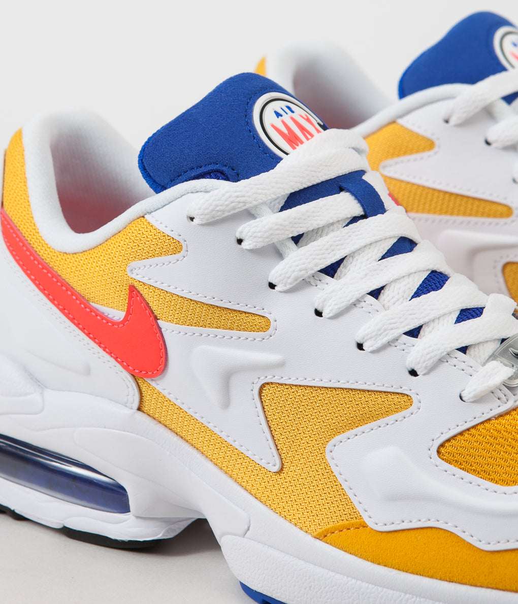 Nike Air Max 2 Light Shoes - University Gold / Flash Crimson - Racer Blue
