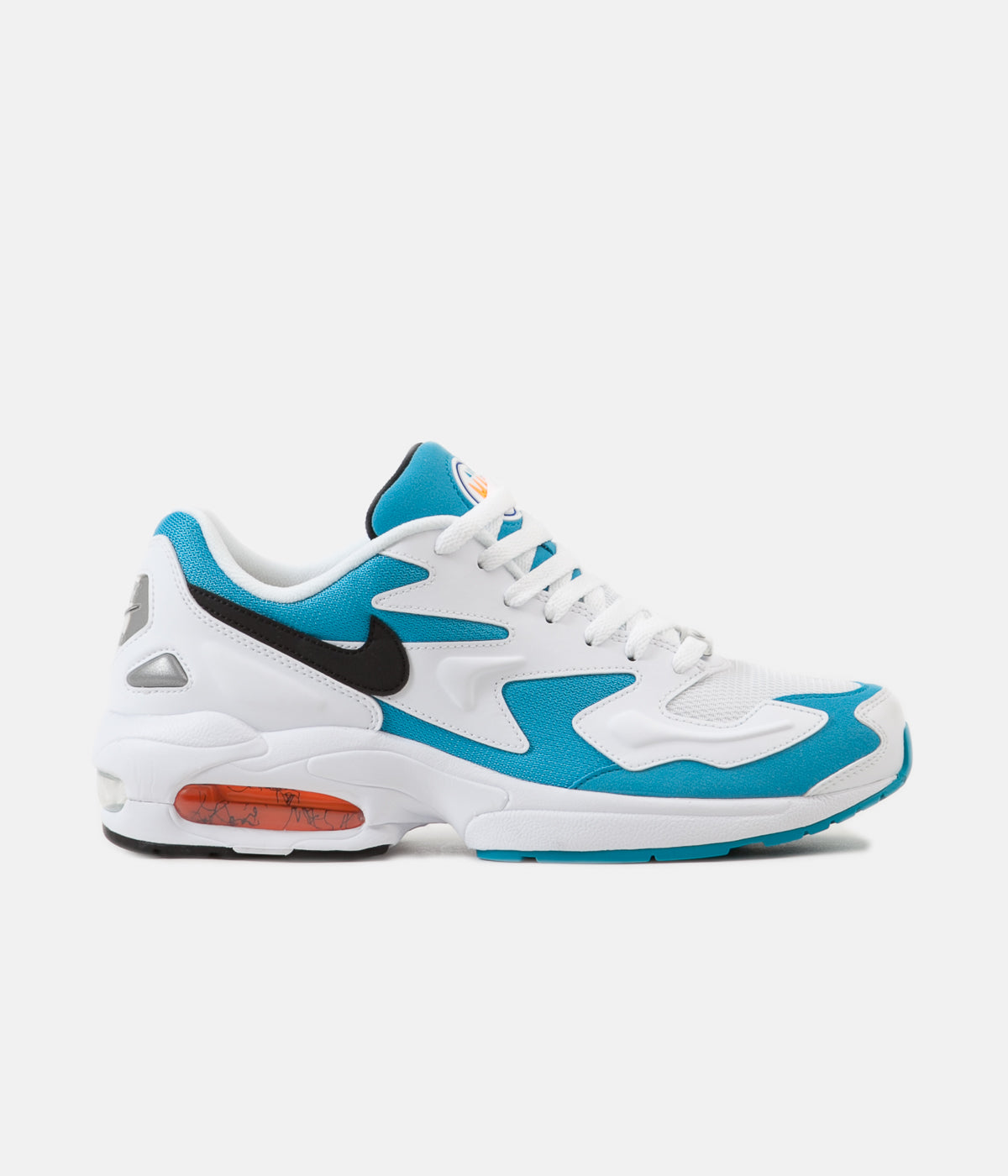 on feet at great fit great deals Nike Air Max 2 Light Shoes - White / Black - Blue Lagoon ...
