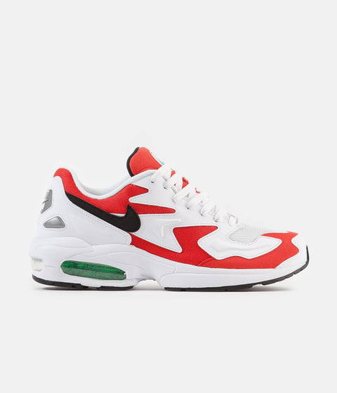 detailed look e3931 ac8a3 Nike Air Max 2 Light Shoes - White   Black - Habanero Red - Cool Grey